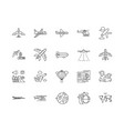 aircraft industry line icons signs set vector image vector image