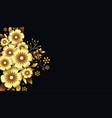 attractive luxurious golden 3d flowers background vector image