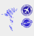 aviation collage faroe islands map and vector image vector image