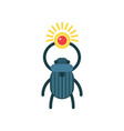 beetle scarab with sun symbol of ancient egypt vector image