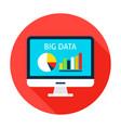 big data computer flat circle icon vector image vector image