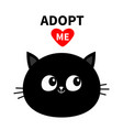 black cat round face silhouette adopt me red vector image vector image