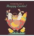 Bunnieschicken and easter eggs vector image vector image