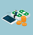 businessman fishing money from smartphone vector image