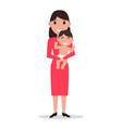 cartoon mother alone with a child vector image vector image