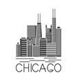 chicago illinois usa skyline line art vector image