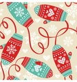 Colorful pattern with cute mittens vector image