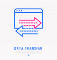 data transfer thin line icon vector image vector image