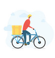 delivery man in face mask on bicycle vector image