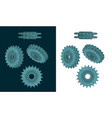 double chain sprocket color drawings vector image vector image