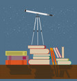 education future concept flat telescope stands on vector image vector image