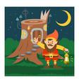 fantasy gnome house cartoon fairy treehouse vector image