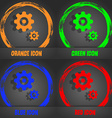 gears icon Fashionable modern style In the orange vector image