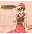 Glamour woman in glasses vector image vector image