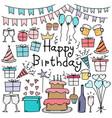 hand drawn doodle happy birthday set vector image vector image