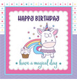 happy birthday card with lovely baby girl unicorn vector image