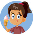 happy girl holding ice cream craving for a treat vector image vector image