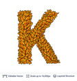 letter k sign of autumn leaves vector image