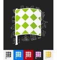 linesman flag paper sticker with hand drawn vector image