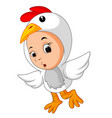 little funny baby wearing rooster suit vector image