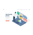 man using private app on laptop isometric vector image vector image