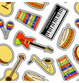 musical instruments sticker seamless pattern vector image vector image