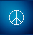 peace sign icon isolated on blue background vector image