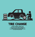 Person Changing Automobil Wheel Tire Graphic vector image