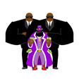 pimp and bodyguard bright clothing and money vector image vector image