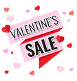 pink and red ribbon with text valentines sale vector image vector image