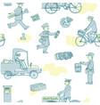 postmen deliver mail seamless pattern vector image