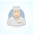 Prisoner inmate jailed man in prison robe icon vector image