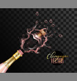 realistic pink champagne explosion closeup vector image vector image