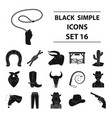 rodeo set icons in black style big collection of vector image
