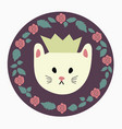 round cat icon vector image