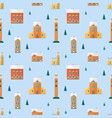 seamless pattern with old buildings clock towers vector image vector image
