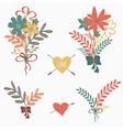 set cute retro floral bouquets vector image vector image
