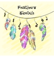 Set of beautiful colored feather Sketch feathers vector image vector image