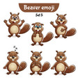 set of cute beaver characters set 5 vector image vector image