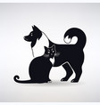 silhouette a dog and cat vector image