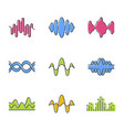 sound and audio waves color icons set voice vector image vector image