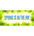 spring is in the air words hand written fresh vector image vector image