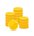 stack of gold coins in a flat style vector image vector image