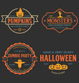 vintage set happy halloween vintage badges vector image vector image