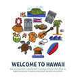 welcome to hawaii promo poster with national vector image vector image