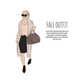 woman in designer clothes sketch trendy fashion vector image