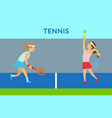 women character playing tennis practice vector image vector image