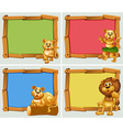 Wooden frames with wild animals vector image vector image