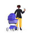 young african american father walking outdoor vector image