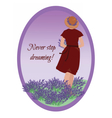 Young woman in a lavender field vector image